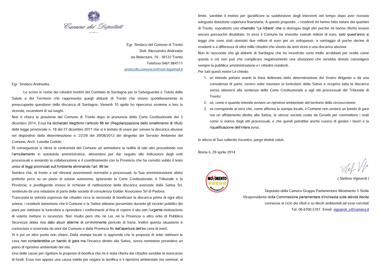 Lettera a sindaco di trento subito bonifica sardagna for Subito it trento arredamento