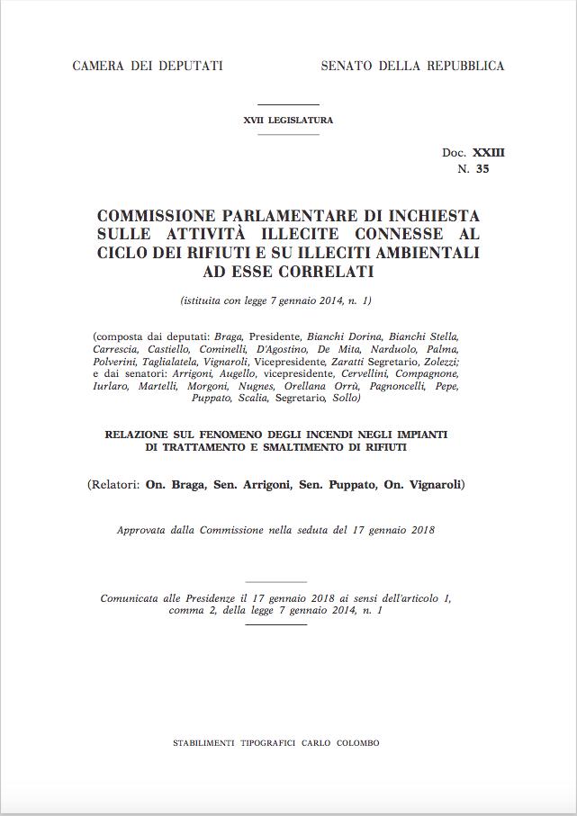 Relazione sul fenomeno degli incendi negli impianti di trattamento e smaltimento di rifiuti