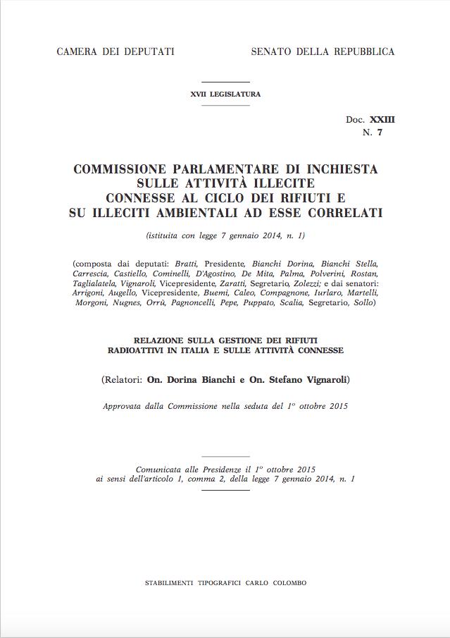 Relazione sulla gestione dei rifiuti radioattivi in Italia e sulle attività connesse