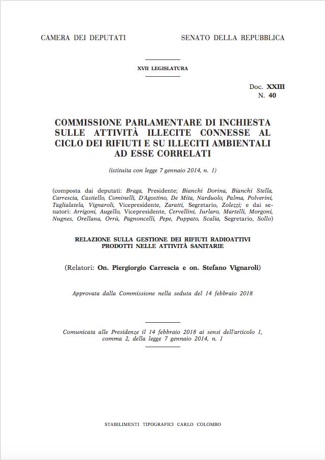 Relazione sulla gestione dei rifiuti radioattivi prodotti nelle attività sanitarie